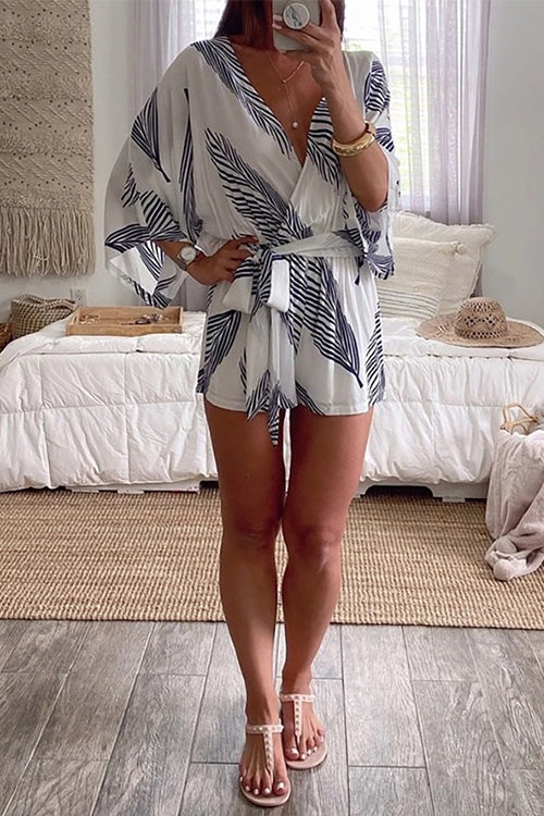 Meridress Wrap V Neck Leaf Print Batwing Romper