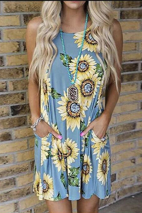 Meridress Cute Sunflower Print Sleeveless Dress