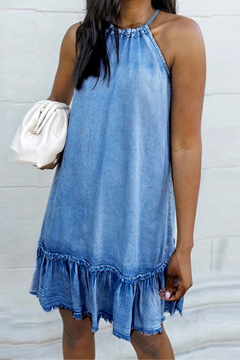 Meridress Loree Halter Backless Denim Dress