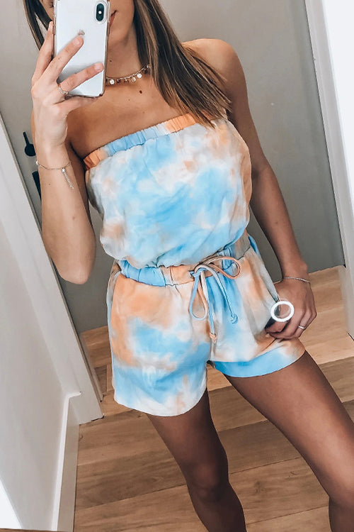 Meridress Off Shoulder Tie Dye Drawstring Romper