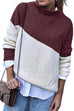 Meridress Turtleneck Color Block Pullover Sweater(3 Colors)