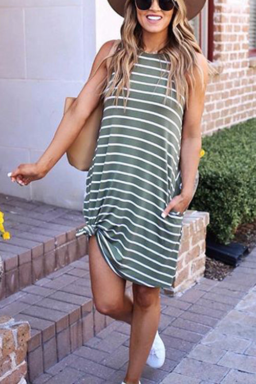 Meridress Striped Loose Round Neck Sundress With Pockets