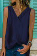 Meridress V Neck Split Side Solid Color Tank Top