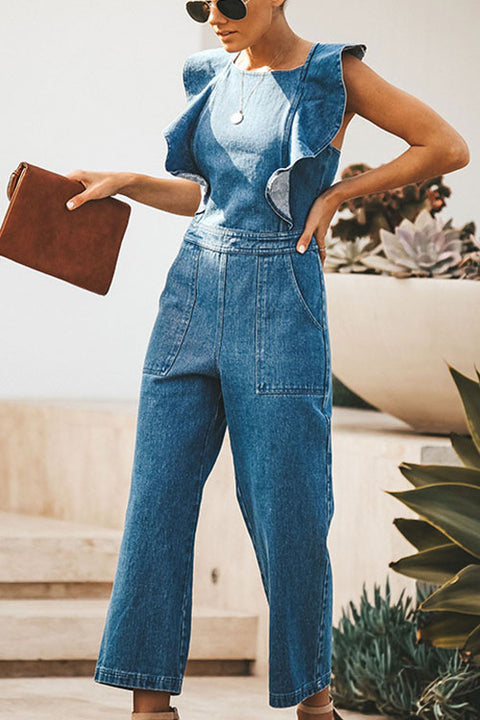MR Scollop Back Cross Straps Wide Leg Denim Jumpsuit