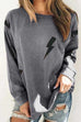 Meridress Round Neck Flash Print Casual Sweatshirt