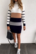 Meridress Color Block Striped Long Sleeve Mini Dresses