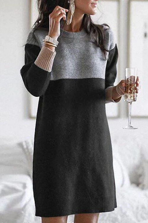 Meridress Long Sleeves Casual Winter Sweater Dress