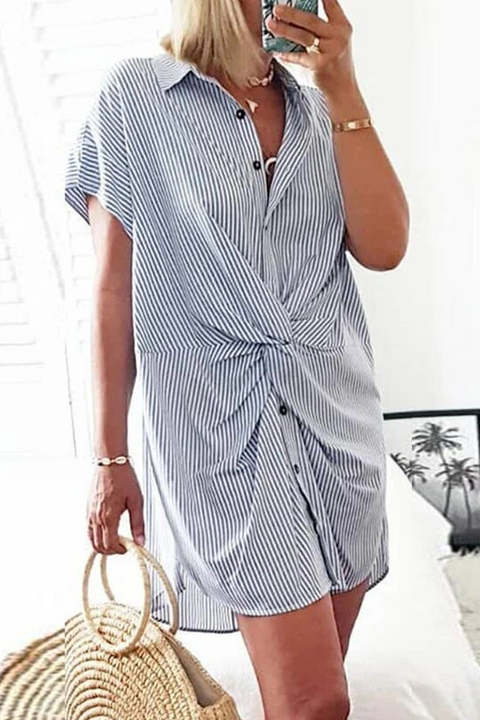 Meridress Trist Knot Striped Shirt Dress