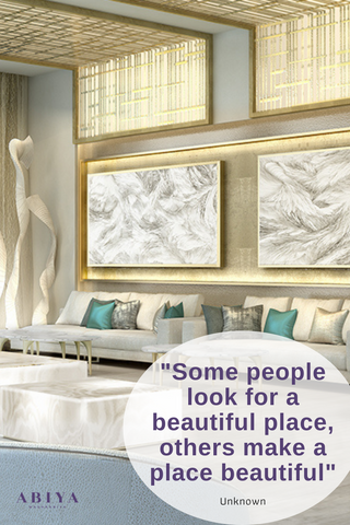 """Interior Design Quote: Some people look for a beautiful place, others make a place beautiful"""" featuring Mashrabiya Ceiling by ABIYA"""