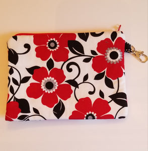 Red flowers zipper pouch