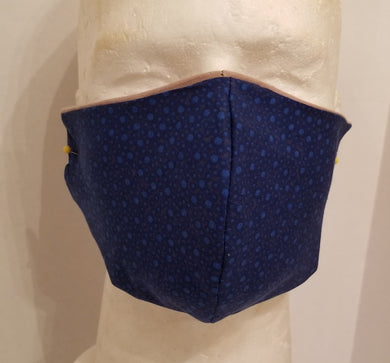 Blue tossed dots cotton face mask