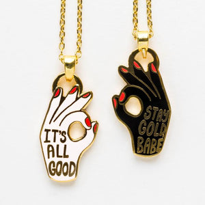 All Good + Stay Gold | Double Sided Pendant Necklace