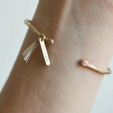 Load image into Gallery viewer, Cream Tassel Bronze Haro Bangle