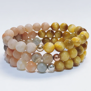 Gold Tiger Eye + Moonstone Bracelet