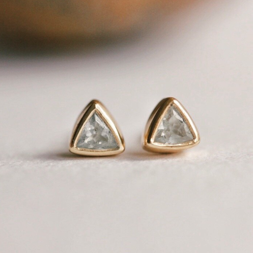 Trillion Studs | Gold + Aquamarine