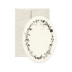 Dark Florals Oval Greeting Card