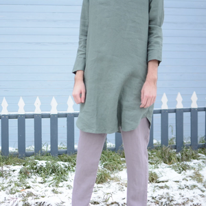 Forest Green French Boyfriend Shirt Dress