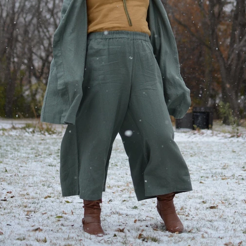 Forest Green York Linen Palazzo Pants | Maxi Length