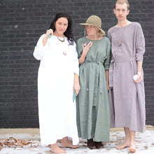 Load image into Gallery viewer, Caffe Mocha Purple Linen Full Length Drop Shoulder Dress
