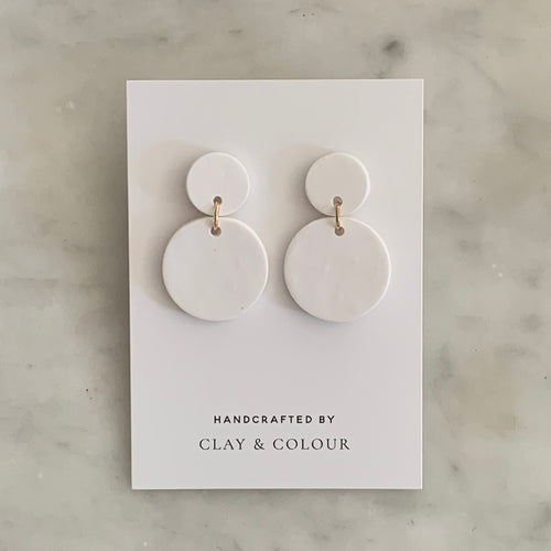 White Solid Classic Earrings