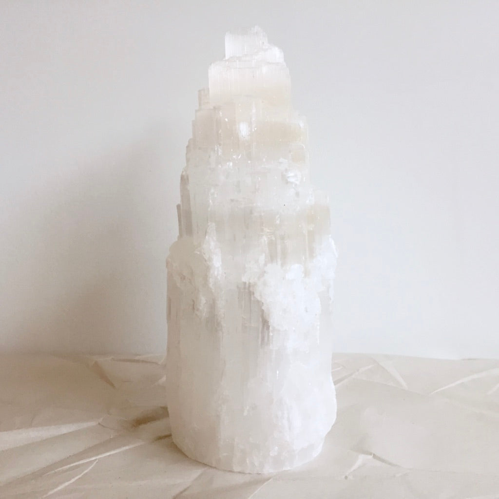 Selenite Mountain Lamp - Medium