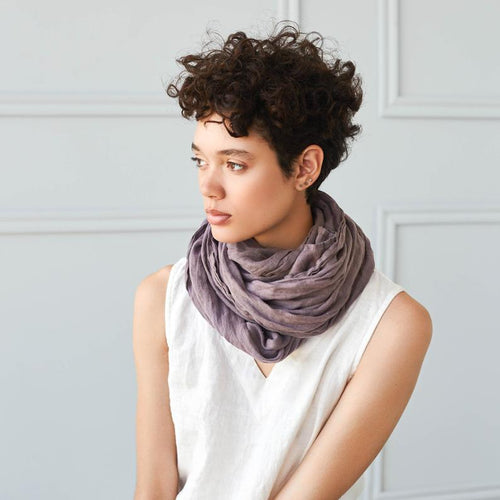 Caffe Mocha Purple Washed Linen Scarf