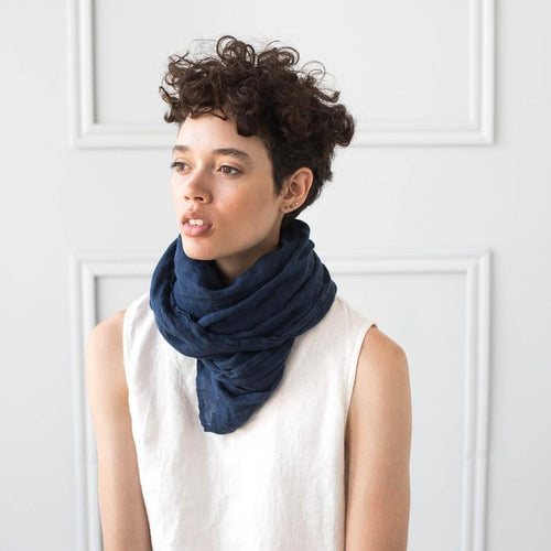 Navy Washed Linen Scarf