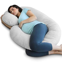 PharMeDoc Pregnancy Pillow with Jersey Cover, C Shaped Full Body Pillow Grey - Includes Travel Bag for Grey Color ONLY