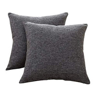 Sunday Praise Cotton-Linen Decorative Throw Pillow Covers,Classical Square Solid Color Pillow Cases,18x18 inches Cushion Covers for Sofa Couch Bed&Car,Pack of 2 (Light Grey)