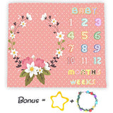 Baby Monthly Milestone Blankets 40x40in|Wreath Color Flowers Personalized Photography Backdrops|Baby Shower Infant Swaddle Receiving Blankets LYFS267