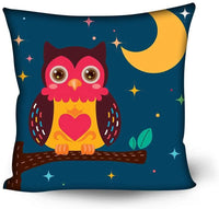GULTMEE Soft Decorative Square Accent Throw Pillow Covers Cushion Case,Nursery Style Cartoon Bird Perching on a Tree Branch in The Night with Crescent Moon,24x24 inches,for Sofa Bedroom Car