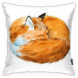 "GULTMEE Abstract Throw Pillow Cushion Cover,Animal,Fox Sleeping Funny Creature Kids Nursery in Watercolor Artwork Design,Decorative Square Accent Pillow Case,22"" X 22"",Apricot and White"