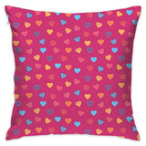 R0k2t0 Magenta Throw Pillow Cushion Cover, Cute Heart Figures Valentine Days Lovers Kids Nursery Baby Love Festive Concept,Decorative Square Accent Pillow Case,18 X 18 Inches,Multicolor_2