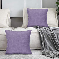 "Alexandra Cole Farmhouse Decorative Couch Pillows Set of 2 Rustic Throw Pillows Burlap Accent Pillow Covers for Sofa Bed Car 18""x18"" Purple"