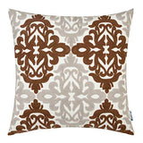 HWY 50 Burgundy Decorative Embroidered Throw Pillows Covers Cushion Cases for Couch Sofa Bed Wine Red Grey Gray 18 x 18 inch Accent Geometric Floral 1 Piece