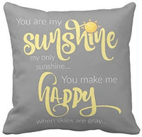Leaveland 18 x 18 Inch You Are My Sunshine Yellow On Gray with Chevron Soft Cotton Polyester Throw Pillow Cases Home Decor Coshion cover Decoretive pillow cover