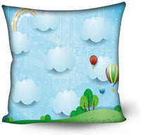 GULTMEE Soft Decorative Square Accent Throw Pillow Covers Cushion Case,Nursery Theme with Balloons Clouds and Stars on The Hills Cartoon Style Design,22x22 inches,for Sofa Bedroom Car