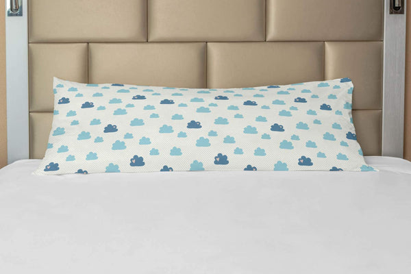 "Ambesonne Clouds Body Pillow Case Cover with Zipper, Repetitive Hearts Polka Dots Cumulus Simplistic Nursery Cartoon, Decorative Accent Long Pillowcase, 21"" x 54"", Pale Sky Blue Blue Grey"