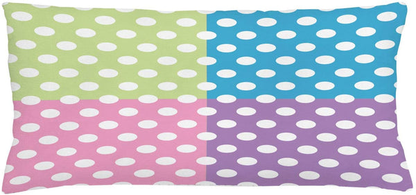 "Ambesonne Polka Dots Throw Pillow Cushion Cover, Polka Dots in Modern Patchwork Design Print Nursery Playroom Kids Sprinkles, Decorative Rectangle Accent Pillow Case, 36"" X 16"", Pink Blue Green"