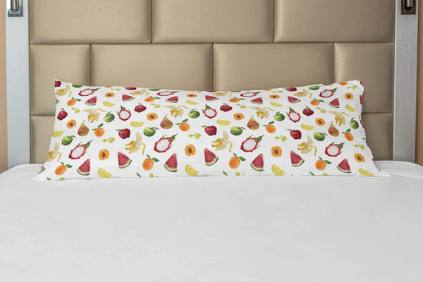 "Lunarable Watercolor Body Pillow Case Cover with Zipper, Abstract Fruit Paintbrush Style Watermelon Apple Banana Kids Nursery Theme, Decorative Accent Long Pillowcase, 21"" x 54"", Multicolor"