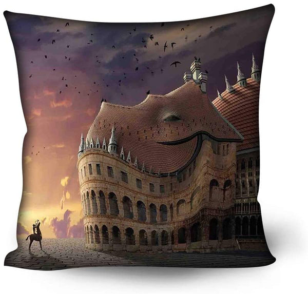 GULTMEE Soft Decorative Square Accent Throw Pillow Covers Cushion Case,Nursery Room Design with Fairytale Prince Charming with a Castle Birds Children,24x24 inches,for Sofa Bedroom Car