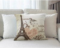 Moslion Eiffel Tower Pillow Case Pink Heart Lover from Paris Flower Cupids Arrow 18x18 Inch Accent Pillow Cotton Linen Canvas Decorative Square Cushion Cover Sofa Bed Light Yellow