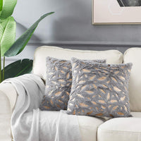 OMMATO Throw Pillows Covers 18 x 18,Set of 2 White Fur with Silver Leaves Soft Throw Pillows for Couch Bed,Accent Home Decorative Square Cushions Cases Shams Pillowcases Farmhouse,45 x 45 cm