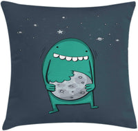 "Ambesonne Cookie Throw Pillow Cushion Cover, Cartoon Monster with Sharp Teeth Biting Nursery, Decorative Square Accent Pillow Case, 36"" X 36"", Pale Slate Blue Teal and Dark Slate Blue"