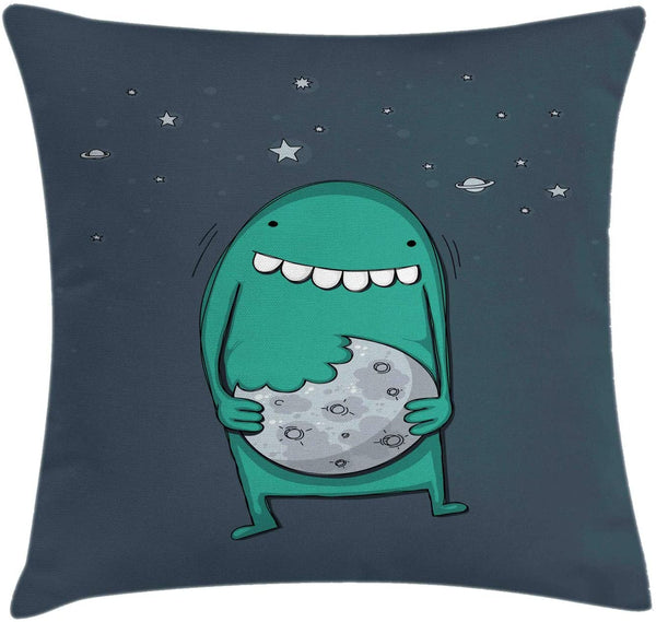 "Ambesonne Cookie Throw Pillow Cushion Cover, Cartoon Monster with Sharp Teeth Biting Nursery, Decorative Square Accent Pillow Case, 16"" X 16"", Pale Slate Blue Teal and Dark Slate Blue"