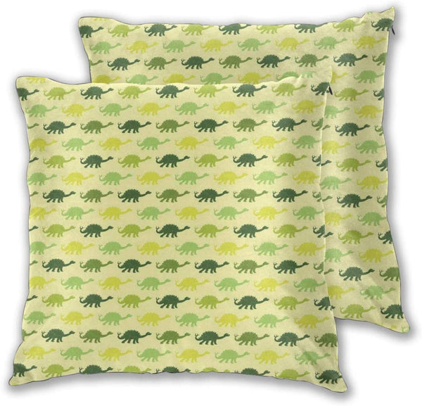 lsrIYzy Decorations Throw Pillow Cushion Cover Set of 2,Repeating Pattern of Dinosaur Stegosaurus in Various Green Shades Kids Nursery,Square Accent Pillow Case 18x18 inches