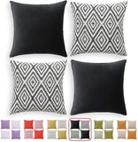 "HPUK Set of 4 Decorative Throw Pillow Covers Geometric Design Cushion Pillowcases for Couch Sofa Bed Car, 17""x17"", Grey"