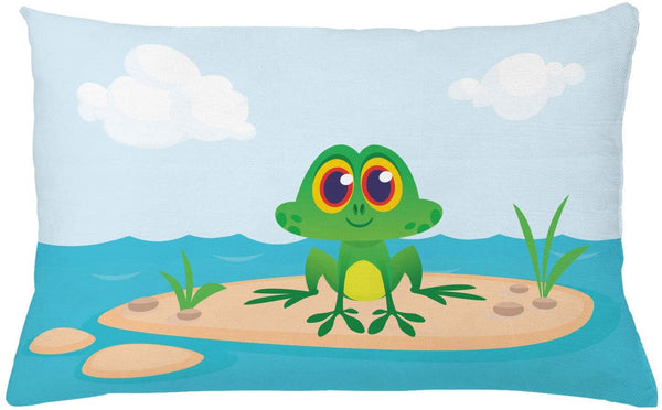 "Ambesonne Frogs Throw Pillow Cushion Cover, Cartoon Character Animal Sitting on Ground Middle of Lake Nursery Themed Nature View, Decorative Rectangle Accent Pillow Case, 26"" X 16"", Multicolor"