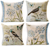 WOMHOPE Set of 4 Throw Pillow Covers Bird On The Tree Accent Countryside Decorative Burlap Toss Pillowcases Square Cushion Cases 18 x 18 Inch for Living Room,Couch,Bed (Blue (Set of 4 pcs))