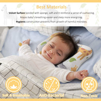 Baby Pillow, MALOMME Infant Pillow Soft Baby Head Shaping Pillow for Sleeping Organic Cotton Washable 3D Breathable Air Mesh Protection for Flat Head Syndrome